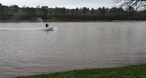 I live in Scotland These football pitches flooded and this guy turned up on a jetski