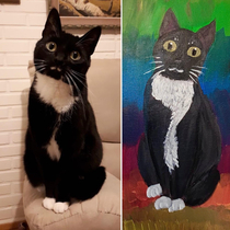 I made a painting of our cat Turned pretty derpy