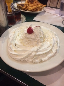 I ordered a waffle at Mels and said they couldnt put enough whipping cream on it