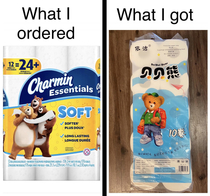 I ordered name-brand toilet paper on Amazon during the early days of the pandemic but received something different Zoom in for entertaining text in upper right hand corner
