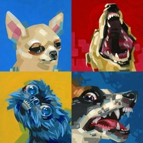 I painted my impressions of four dog breeds