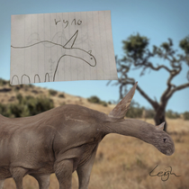 I photoshopped this drawing of a rhino