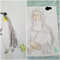 I picked up my  year old sons school things today and found these two gems from art class