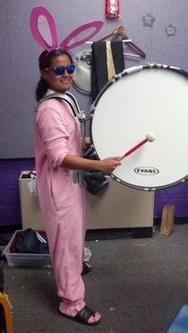 I play bass drum in a marching band so for Halloween I went as the Energizer Bunny