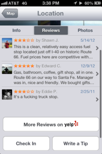 I prefer Yelp reviews that are to the point