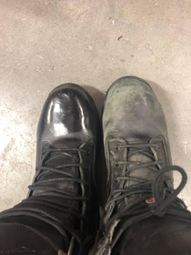 I put a couple layers of boot polish on one of my a coworkers boots every day he was on vacation ONE of his boots