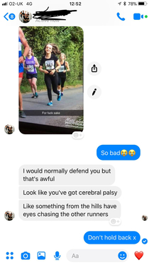 I ran a half marathon and this was my boyfriends thoughts on the matter