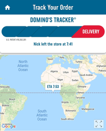 I really hope my pizza doesnt get cold while crossing the Atlantic