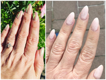 I recently moved to Europe and had to say good bye to my amazing nail tech back home in Canada I found this woman online and figured how bad it could be Her pictures looked legit This cost me  and another  to fix What I had  vs what I received
