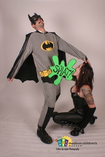 I run a photo booth Last night there was a superhero themed event so I brought some props Then this photo happened