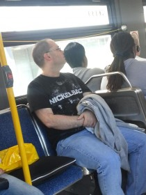 I saw a very brave man on the bus today