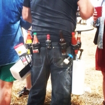I saw the Louisiana hot sauce and raise you this--seen at a BBQ beerfest in GA Complete with hand wipes and a bread holster