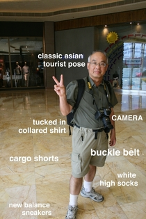 I see your classic white dad attire and present asian tourist dad attire
