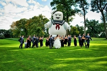 I see your Jurrasic Park Wedding photo and raise you a Stay Puft Marshmallow Man Photo - all thanks to Redditor OldMrBoston