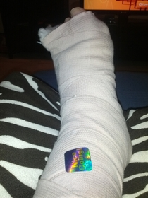 I slipped in the ice and broke my ankle My  yr old unknowingly chose the most relevant sticker to put on my cast