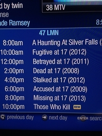 I think someone at the Lifetime Movie Network hates  year olds