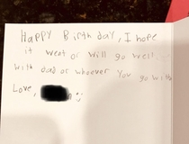 I told my little brother to write something thoughtful for our mother