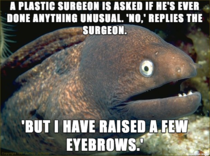 I used to really enjoy the Lame Joke Eel memes but I never see them anymore I present to you my go-to joke as a plastic surgeon