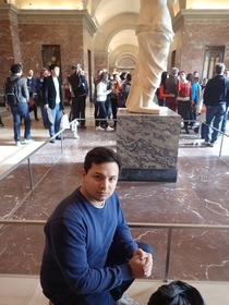 I visited the Louvre Museum in Paris today In an effort to document it I posed for a picture next to Michelangelos Aphrodite