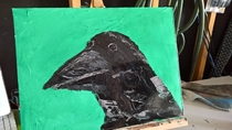 I wanted to paint a terrifying crow but this came out instead