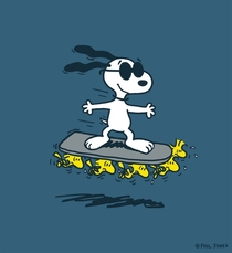 I was hired to do a design for Charles M Schulzs Peanuts team I decided to draw Snoopy on a Hoverboard