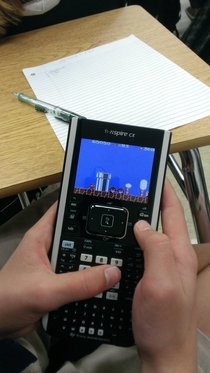 I was in math class when I looked over at another classmates calculator and saw this