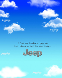 I was laying in bed while reading a male fashion magazine I fell asleep and started dreaming about reading it not realizing that it was a dream I flipped the page to an advert for Jeep I started laughing and woke myself I recreated the advert in photoshop