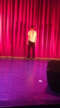 I went to see Bo Burnham last month and this is how he stood for the majority of the intermission