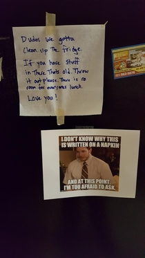 I work for a printing company Saw this on the fridge today
