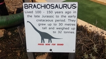 If I was around during the early part of th Century I could have seen a brachiosaurus