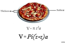 If you have a pizza with radius z and thickness a its volume is Pizza