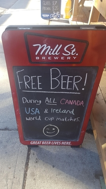 Ill see your free beers USA and raise you Canadaand Ireland
