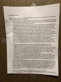 Im moving out of my terrible apt complex in two days I found this letter in our elevator Guess at least one resident hates this apt as much as I do