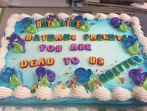 Im moving to Japan and last night was my last shift So my coworkers sent me off with this cake