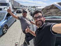 Im visiting California I was expecting to make some new friends but to be honest I wasnt expecting it to happen on the highway while I was sitting idle for  minutes I guess Im really getting the full Californian experience