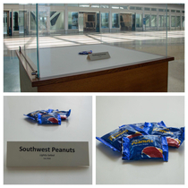 In honor of the anniversary of the last bag of peanuts offered on a Southwest flight Orlando International Airport MCO set up this exhibit to honor a relic of airplane food history