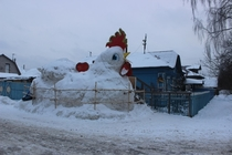 In Russia when the city piles snow in front of your house you might as well make the best of it