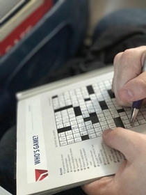 In the middle of a cross country flight Im impressed the guy beside me is filling it out so quickly until I take a closer look