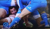 Irish Rugby player Rob Kearney builds a fort during the match against Italy