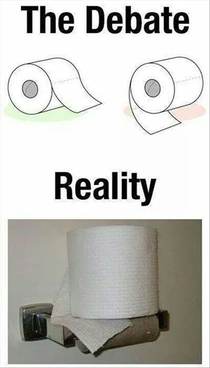 It doesnt matter how the TP is mounted in my house