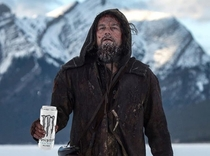 Its crazy how Leo goes from rugged mountain man to creepy homeless dude with just the addition of a Monster Energy