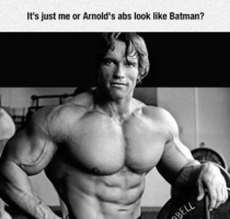 Its just me or Arnolds abs look like Batman
