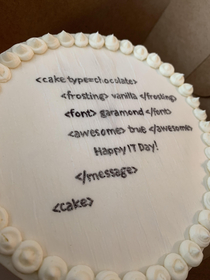 Its National IT Professionals Day This is the cake we were gifted