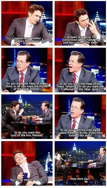 James Franco and Stephen Colbert having a Tolkien showdown I might have laugh out loud on that one