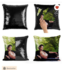 Jeff Goldblum sequined decorative pillow