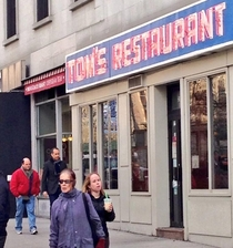 Jerry Seinfeld and Jason Alexander spotted today going to eat at Toms Restaurant Monks Coffeeshop in Seinfeld