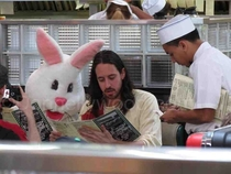Jesus and the Easter Bunny walk into a diner
