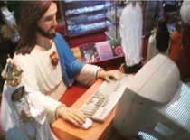 Jesus checking if the Facebook photo has enough likes to save the sick child