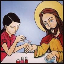 Jesus getting his nails done