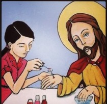 Jesus getting his nails painted